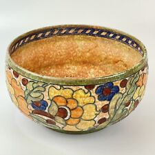 More details for crown ducal charlotte rhead signed colourful floral 17.5cm wide bowl cracked a/f