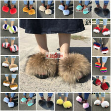Fashion Women Fluffy Real Fox/Raccoon Fur Slides Slipper Outdoor Shoes Sandals