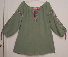 EMBROIDERED 100% Cotton MID WEIGHT GAUZE Hippie Peasant Festival Top Blouse 2X