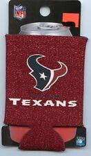 Houston Texans Red Glitter Can Cooler Keeps Cans and Bottles Cold Koozie