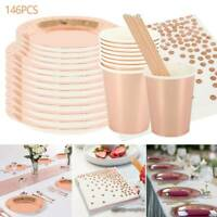 146PCS Rose Gold Foil Paper Plates Straws Cups Tableware Wedding Party Birthday
