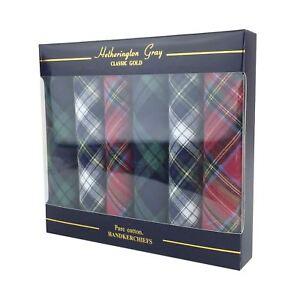 6 Pack Mens/Gentlemens Tartan Handkerchiefs, 100% Cotton In A Gift Box