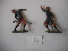 2 soldats de plomb infanterie au combat capote français plat demi ronde-bosse