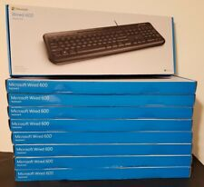 LOT OF 9 Microsoft Wired Keyboard 600 Black - Wired USB - Quiet-Touch Keys NEW