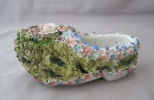 "ANTIQUE/VTG CERAMIC LADY'S SHOE~GERMANY~FLOWERS~4 1/2"" LONG"