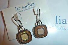 "NWT LIA SOPHIA ""CARAMELLO"" DANGLE EARRINGS - MOP/CARAMEL RESIN - $328"
