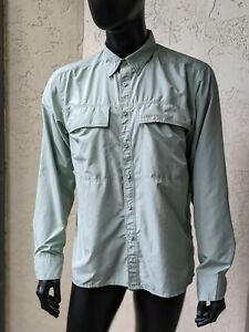 Simms Men's Vented Long Sleeve Fly Fishing Shirt Sage Green Size Large