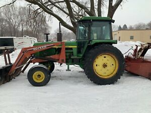 JOHN DEERE 4230 W/ HEATED CAB, LOADER, SNOW BLOWER EXCELLENT CONDITION