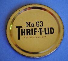 GOLD NO. 63 THRIFT-T-LID Fits NARROW~MOUTH Mason Canning Jar Fruit Veggies ~ NOS