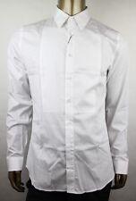 Gucci Men's White Cotton Skinny Bib Tuxedo Shirt 38/15 331169 21131 9000