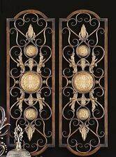 Set 2 Scroll Wall Decor Wrought Iron Metal Grille Panel Tuscan Art Plaque  Grill