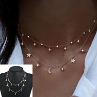 Fashion Women Multilayer Choker Necklace Star Moon Chain Gold Pendant Jewelry TR