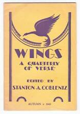 WINGS A QUARTERLY OF VERSE Autumn 1945 - review of Robert Frost MASQUE OF REASON