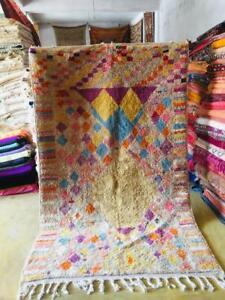 Moroccan Boujaad rug 100% Wool Handmade pink Berber carpet (8.53 Ft x 5.25 Ft)