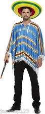 Mexican Poncho Fancy Dress Unisex Blue Western Bandit Theme Outfit Adult Party