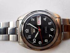 Rare SS Vintage Military Style Black Seiko 5 Mens Automatic WristWatch Japan