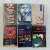 6 Cassette Tape Lot Classic Rock 70's 80's Van Halen Journey, Styx, Pink Floyd