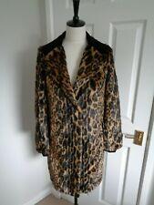BNWT BIBA  Leopard Faux Fur & Black Velvet Winter Coat Jacket size 8