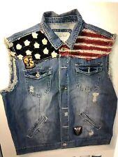 Smoke Rose Denim American Flag Vest, Xxl, Nwot