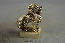 Collectible Handwork Decorative Miao Silver Carve Myth Dragon Lucky Seal Statue