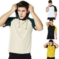 Fashion Men Short Sleeve Tee Casual Hooded Hoodie Summer T-Shirt Top M-2XL