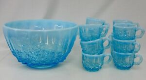 L G Wright Blue Opalescent Glass Punch Bowl and 12 cups - 82511