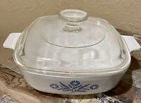 Vintage Corning Ware 1 Qt Blue Cornflower Baking Dish w/Lid P-1-B '66-'69