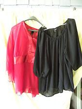 Lot of 2 LANE BRYANT Womens Plus 26/28 Tops - Blouses - Red - Black - EUC - EB43