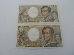 lot de 2 billets 200 francs montesquieu 1992 g.147/g.138