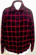 ALLISON DALEY PETITE JACKET-BLACK RED PLAID SPARKLE DESIGN-10P-EXCELLENT