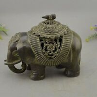 Old Chinese Dynasty Palace Bronze Elephant Statue Incense Burner Censer