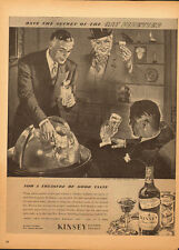 1940's Vintage ad for Kinsey Blended Whiskey~Art~Globe/Men drinking