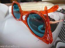 Vintage Mid Century Orange Glitter Bamboo Retro NOS Sunglasses w/ Blue Lenses