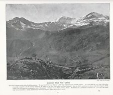 1897 Vittoriano Stampa ~ Snowdon Wales Welsh Mountain ~ PLUS testo descrittivo
