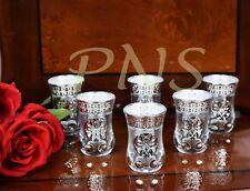 Set of 6 Arabian Turkish Style Silver Decor Glass Tea Set Cup Set Islamic Gift