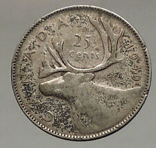 1949 CANADA King George VI of Britain Domains Silver 25 Cent Coin CARIBOU i56796