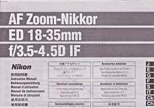 Genuine lenti Nikon manuale di istruzioni AF Zoom Nikkor ED 18-35 F/3.5-4.5D se