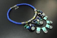 ELEGANT ROYAL BLUE ROPE AZTEC FLORAL INSPIRED STATEMENT NECKLACE (CL17)