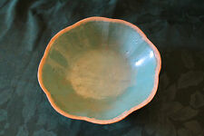 Antique Qing Dynasty 1850- 1899  Earthenware Chinese Lobed Turquiose Bowl