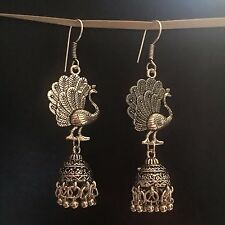 WOMEN FASHION JEWEL TRIBAL JEWELRY JHUMKI DANCING PEACOCK DROP EARRINGS