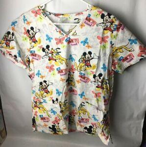 Nursing Scrub Disney's Mickey Mouse & Pluto Top Small Medical Doctor Pediatric