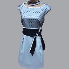 Karen Millen DQ287 Grey Black Lace & Fabric Mixing Bow Detail Cocktail Dress 14