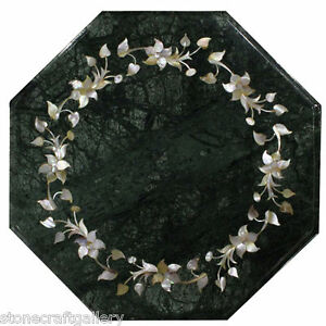 """12"""" Green Marble Table Top Inlay Handicraft Work For Home Decor"""