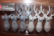 GLITTER DEER HEAD BUCK ANTLERS HANGING CHRISTMAS TREE ORNAMENT SET 6 SILVER