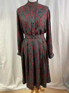 Vintage Pendleton Womens Skirt Blouse Set Paisley Holiday Red Green Size 8