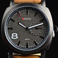 Reloj de cuero para hombre de Deporte Militar de lujo caliente Negro Reloj Watch