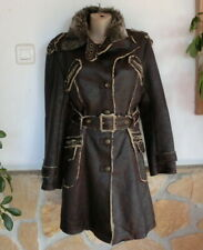 Lissa Paris Trendy Mantel Leder Optik Fellfutter Fake Fur Braun EG 36-38