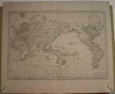 CAPTAIN COOK'S WORLD JOUNEYS 1801 RUSSELL ANTIQUE MAP MERCATOR'S PROJECTION