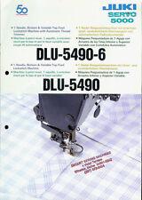 Juki DLU-5490/5490-6 Industrial Sewing Machine Rare Orig Factory Dealer Brochure
