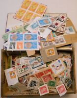 VINTAGE HENRIETTA WOODEN  CIGAR BOX FULL OF WORLD-WIDE STAMPS ON PAPER!